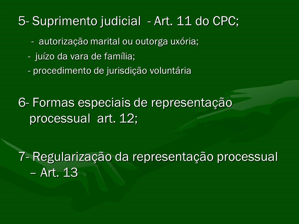 5- Suprimento judicial - Art. 11 do CPC; - autorização marital ou outorga uxória; - autorização marital ou outorga uxória; - juízo da vara de família;