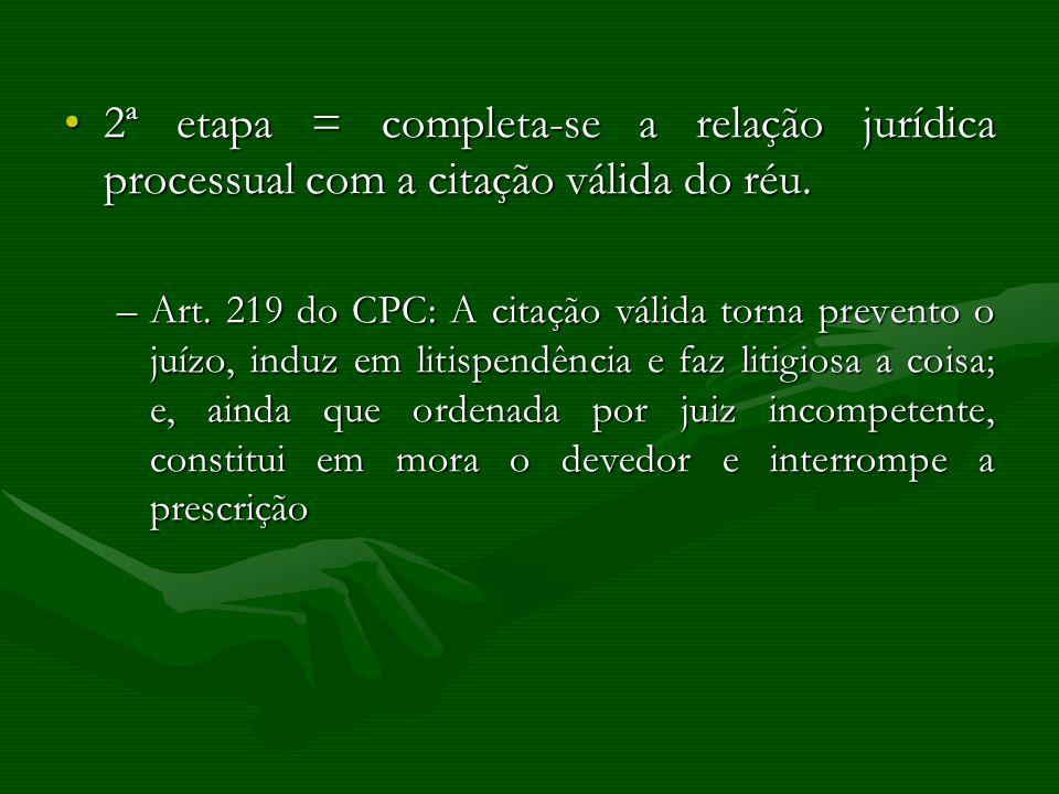 2ª etapa = completa-se a relação jurídica processual com a citação válida do réu.2ª etapa = completa-se a relação jurídica processual com a citação vá