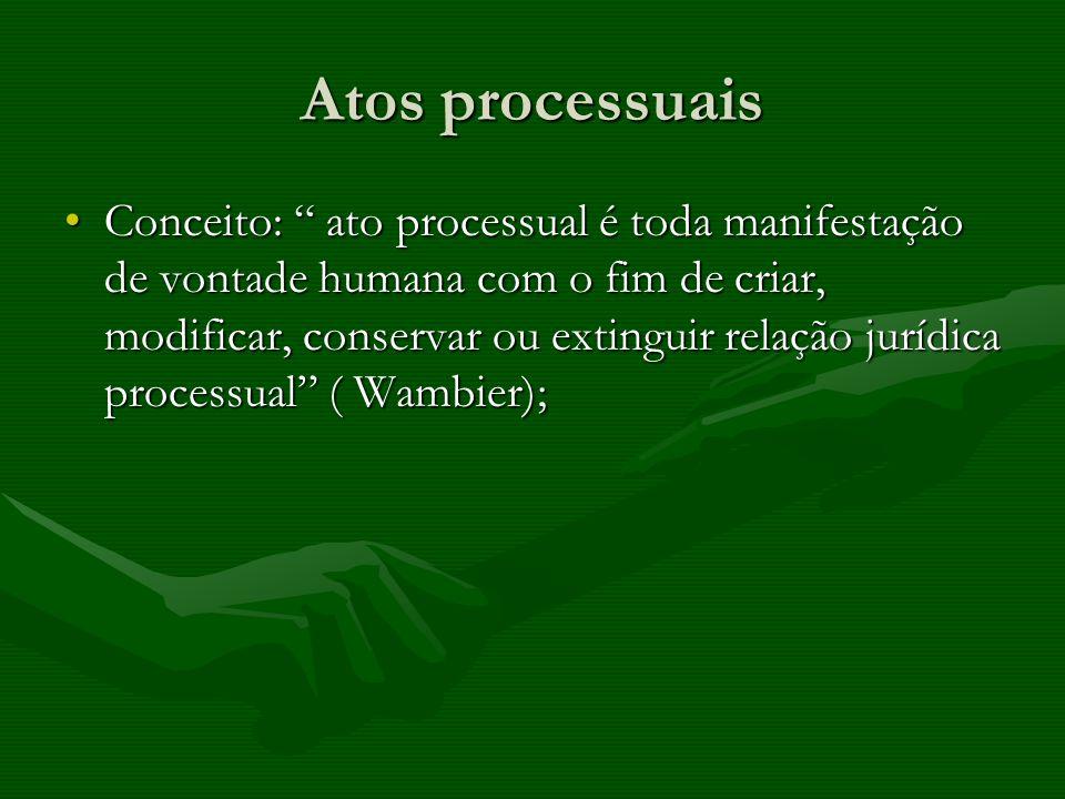 Atos processuais Conceito: ato processual é toda manifestação de vontade humana com o fim de criar, modificar, conservar ou extinguir relação jurídica