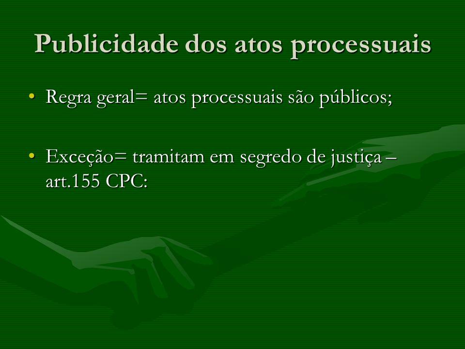 Publicidade dos atos processuais Regra geral= atos processuais são públicos;Regra geral= atos processuais são públicos; Exceção= tramitam em segredo d