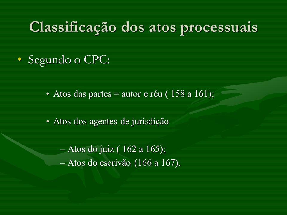 Classificação dos atos processuais Segundo o CPC:Segundo o CPC: Atos das partes = autor e réu ( 158 a 161);Atos das partes = autor e réu ( 158 a 161);