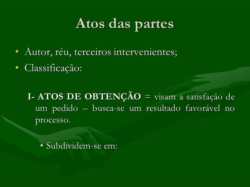 Atos das partes Autor, réu, terceiros intervenientes;Autor, réu, terceiros intervenientes; Classificação:Classificação: I- ATOS DE OBTENÇÃO = visam a