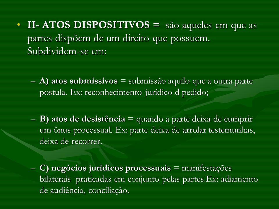 II- ATOS DISPOSITIVOS = são aqueles em que as partes dispõem de um direito que possuem. Subdividem-se em:II- ATOS DISPOSITIVOS = são aqueles em que as
