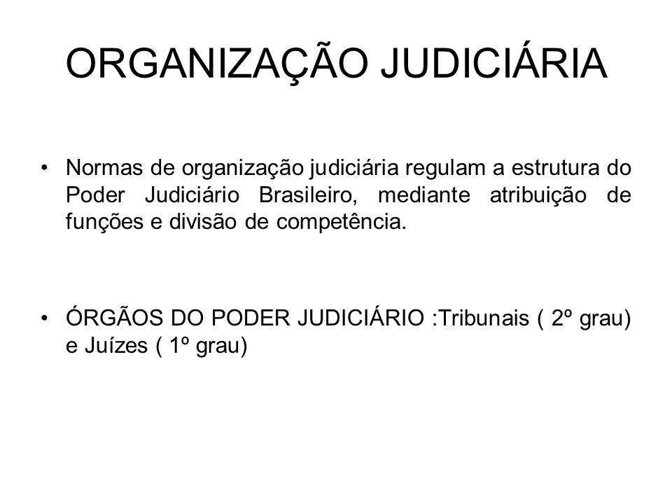 ORGANIZAÇÃO JUDICIÁRIA Normas de organização judiciária regulam a estrutura do Poder Judiciário Brasileiro, mediante atribuição de funções e divisão d