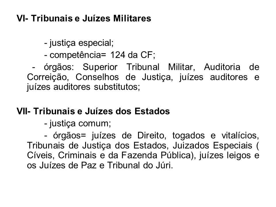 VI- Tribunais e Juízes Militares - justiça especial; - competência= 124 da CF; - órgãos: Superior Tribunal Militar, Auditoria de Correição, Conselhos