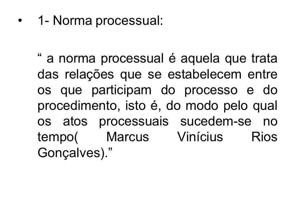 1- Norma processual: a norma processual é aquela que trata das relações que se estabelecem entre os que participam do processo e do procedimento, isto