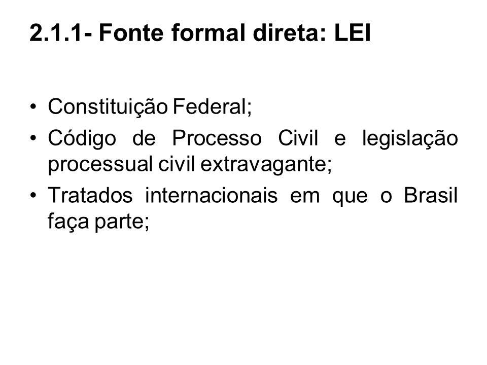 2.1.1- Fonte formal direta: LEI Constituição Federal; Código de Processo Civil e legislação processual civil extravagante; Tratados internacionais em