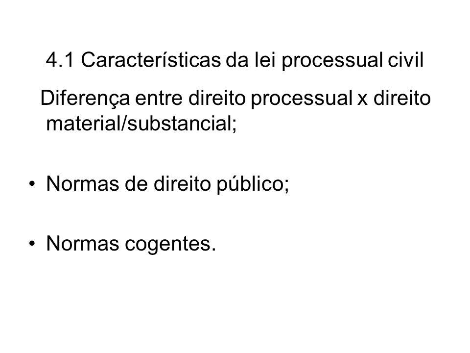 4.1 Características da lei processual civil Diferença entre direito processual x direito material/substancial; Normas de direito público; Normas cogen