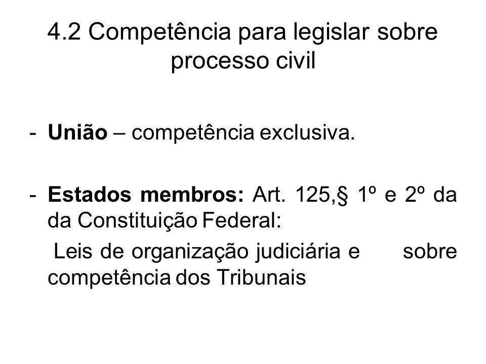 4.2 Competência para legislar sobre processo civil -União – competência exclusiva. -Estados membros: Art. 125,§ 1º e 2º da da Constituição Federal: Le