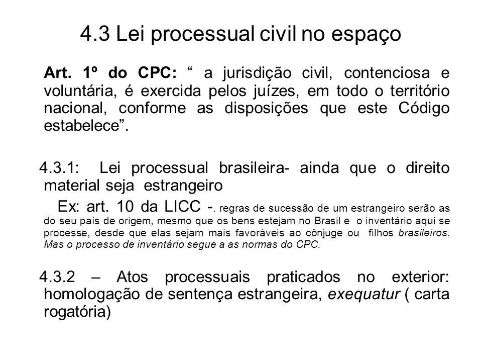 4.3 Lei processual civil no espaço Art. 1º do CPC: a jurisdição civil, contenciosa e voluntária, é exercida pelos juízes, em todo o território naciona