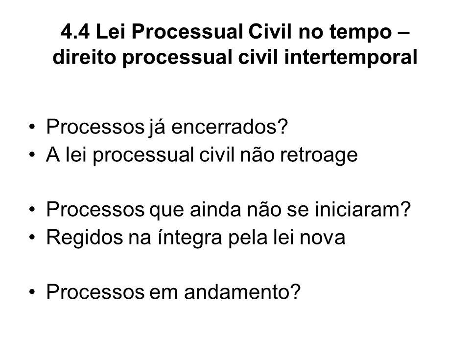 4.4 Lei Processual Civil no tempo – direito processual civil intertemporal Processos já encerrados? A lei processual civil não retroage Processos que