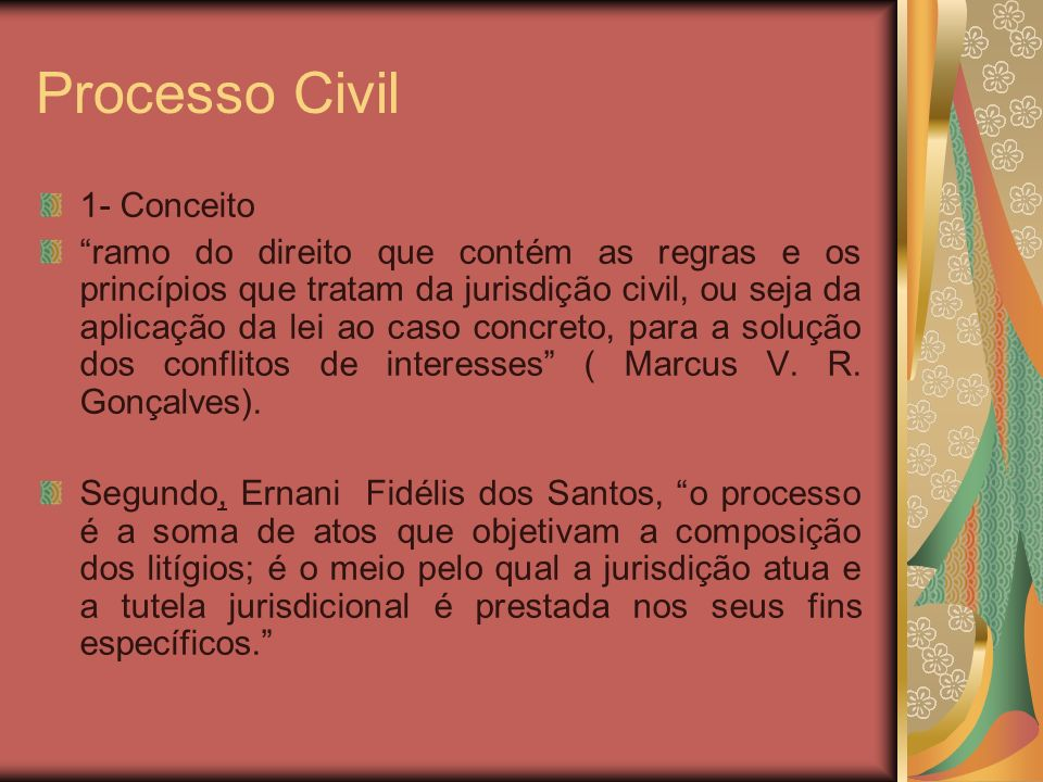 Processo Civil 1- Conceito ramo do direito que contém as regras e os princípios que tratam da jurisdição civil, ou seja da aplicação da lei ao caso co