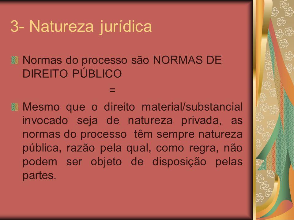 3- Natureza jurídica Normas do processo são NORMAS DE DIREITO PÚBLICO = Mesmo que o direito material/substancial invocado seja de natureza privada, as