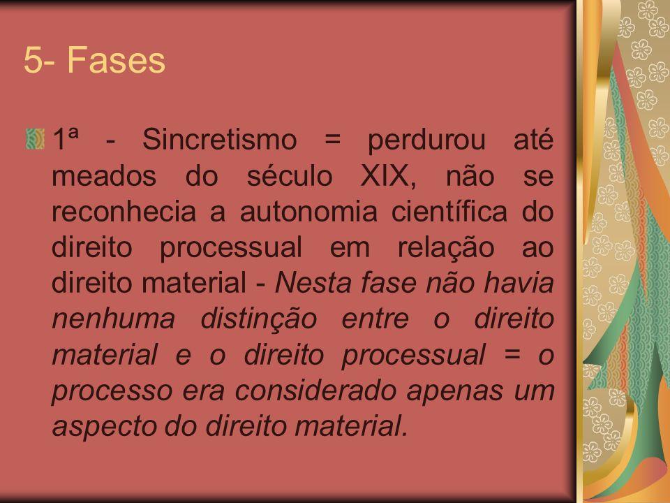 5- Fases 1ª - Sincretismo = perdurou até meados do século XIX, não se reconhecia a autonomia científica do direito processual em relação ao direito ma