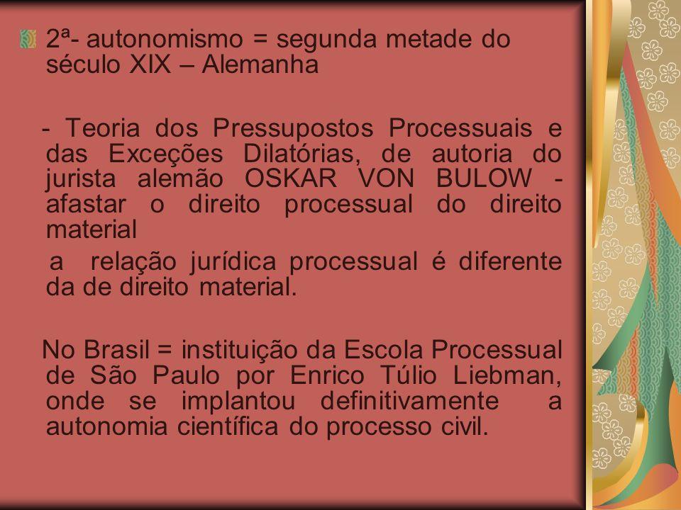 3ª- instrumentalismo: Contra o culto a forma e excesso de formalismo do autonomismo; Idealizada por Candido Rangel Dinamarco = surge da necessidade de se estudar o processo em função do seu resultado.