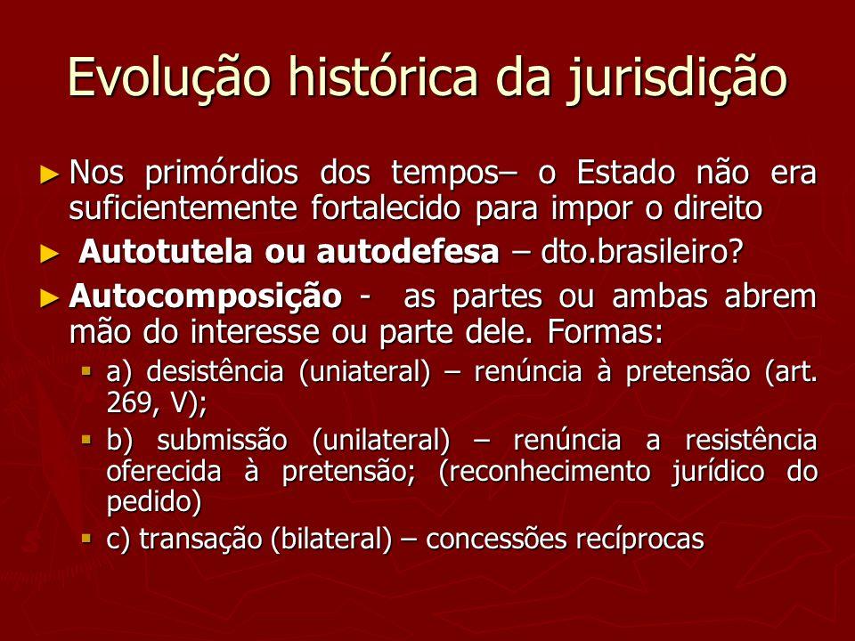 Evolução histórica da jurisdição Nos primórdios dos tempos– o Estado não era suficientemente fortalecido para impor o direito Nos primórdios dos tempo