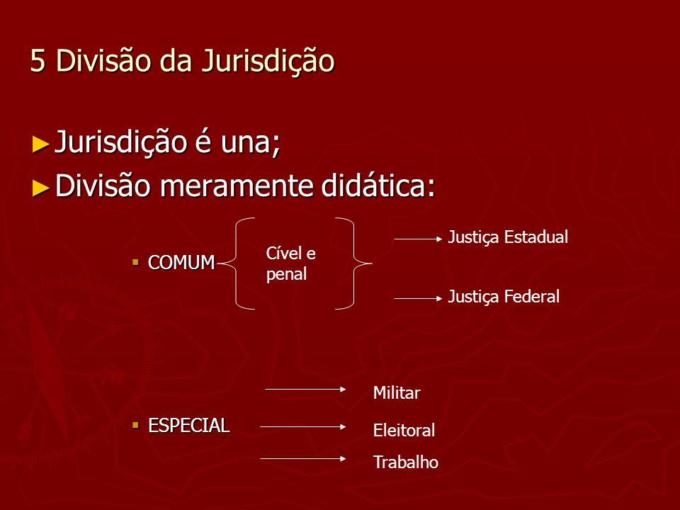 5 Divisão da Jurisdição Jurisdição é una; Jurisdição é una; Divisão meramente didática: Divisão meramente didática: COMUM COMUM ESPECIAL ESPECIAL Just