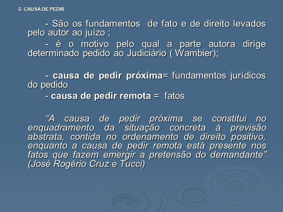 2- CAUSA DE PEDIR 2- CAUSA DE PEDIR - São os fundamentos de fato e de direito levados pelo autor ao juízo ; - é o motivo pelo qual a parte autora diri