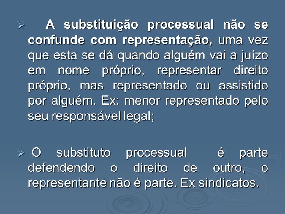 A substituição processual não se confunde com representação, uma vez que esta se dá quando alguém vai a juízo em nome próprio, representar direito pró