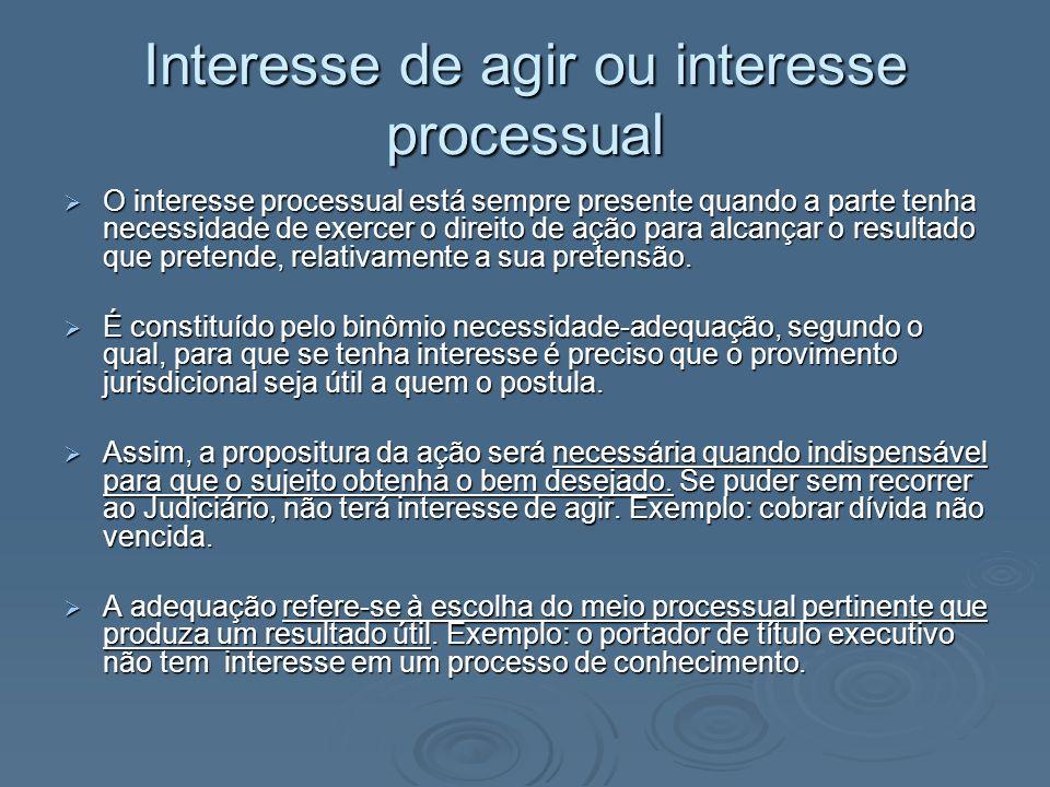 Interesse de agir ou interesse processual O interesse processual está sempre presente quando a parte tenha necessidade de exercer o direito de ação pa