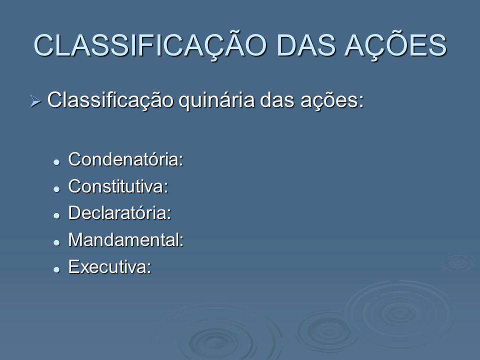 CLASSIFICAÇÃO DAS AÇÕES Classificação quinária das ações: Classificação quinária das ações: Condenatória: Condenatória: Constitutiva: Constitutiva: De