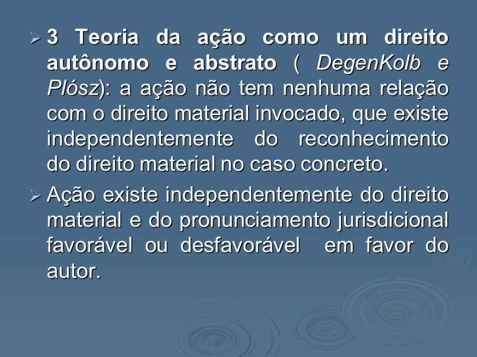 4- Teoria eclética da ação – ( Liebman): 4- Teoria eclética da ação – ( Liebman): O direito de ação é o direito a uma sentença de MÉRITO, seja ela de procedência ou improcedência; O direito de ação é o direito a uma sentença de MÉRITO, seja ela de procedência ou improcedência; Para tanto deve preencher certas condições: Condições da ação: legitimidade, interesse processual e possibilidade jurídica do pedido Para tanto deve preencher certas condições: Condições da ação: legitimidade, interesse processual e possibilidade jurídica do pedido Adotada pelo Código de Processo Civil; Adotada pelo Código de Processo Civil; Extinção do processo sem julgamento de mérito.