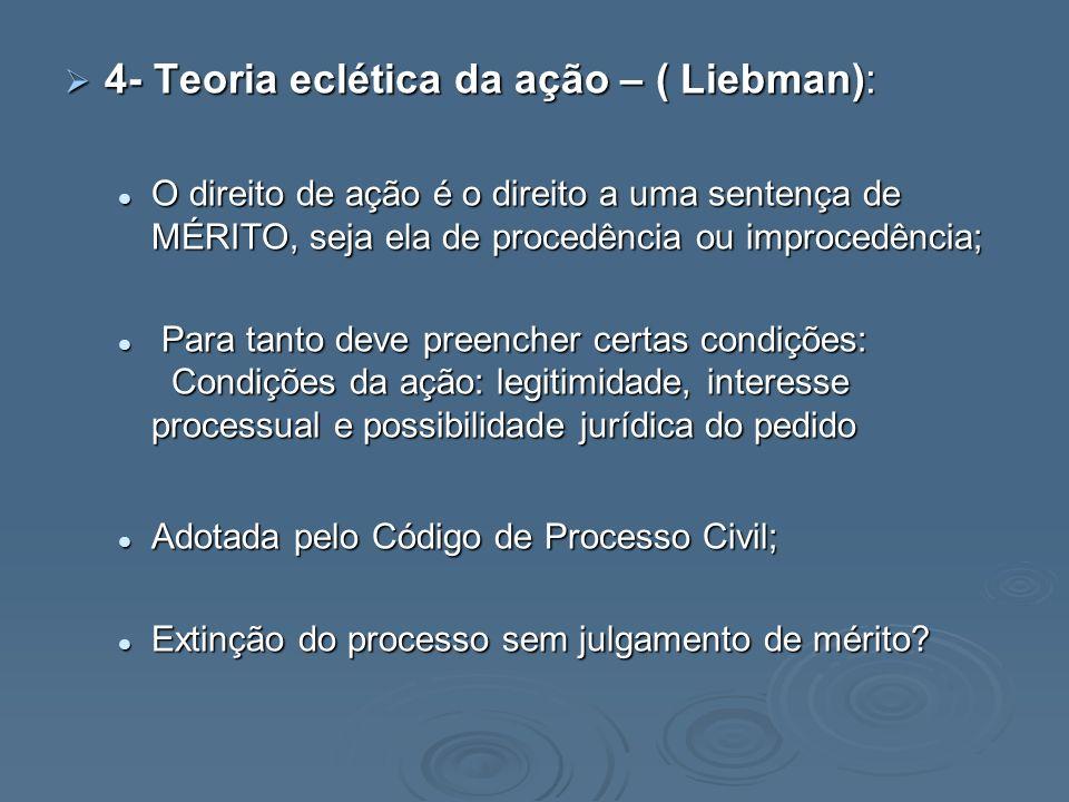 4- Teoria eclética da ação – ( Liebman): 4- Teoria eclética da ação – ( Liebman): O direito de ação é o direito a uma sentença de MÉRITO, seja ela de