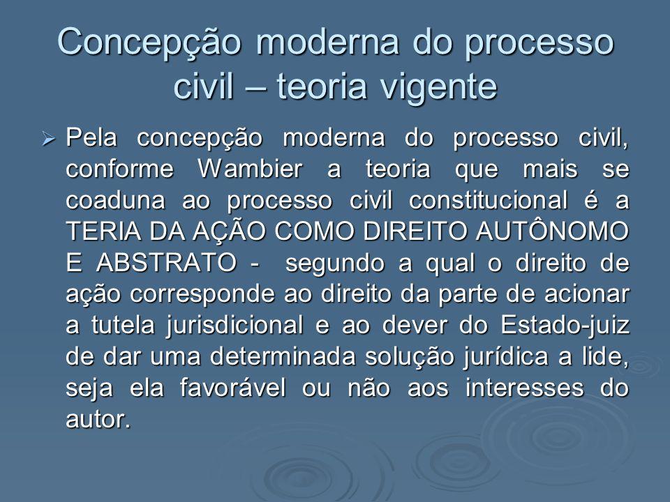Concepção moderna do processo civil – teoria vigente Pela concepção moderna do processo civil, conforme Wambier a teoria que mais se coaduna ao proces