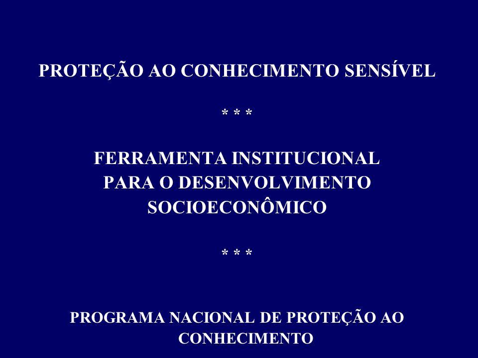 PROGRAMA NACIONAL DE PROTEÇÃO AO CONHECIMENTO - PNPC Agência Brasileira de Inteligência - ABIN criada pela Lei 9.883/99, de 07/12/1999 planejamento, execução, coordenação, supervisão e controle das atividades de Inteligência do País assessoramento direto ao processo decisório governamental (oportunidades e ameaças) voltada para a defesa do Estado Democrático de Direito, da sociedade, da eficácia do poder público e da soberania nacional