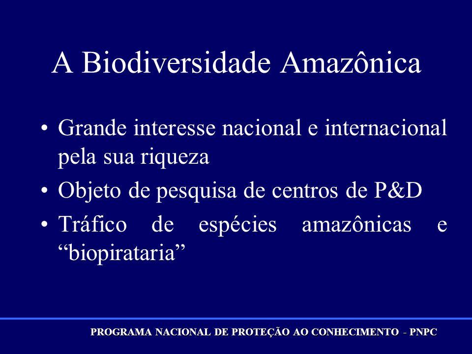 A Biodiversidade Amazônica Grande interesse nacional e internacional pela sua riqueza Objeto de pesquisa de centros de P&D Tráfico de espécies amazônicas e biopirataria PROGRAMA NACIONAL DE PROTEÇÃO AO CONHECIMENTO - PNPC