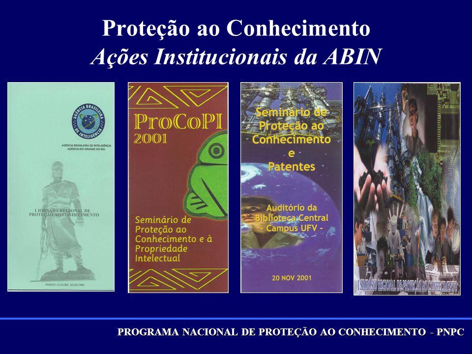 PROGRAMA NACIONAL DE PROTEÇÃO AO CONHECIMENTO - PNPC Proteção ao Conhecimento Ações Institucionais da ABIN