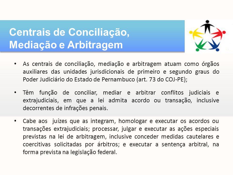 As centrais de conciliação, mediação e arbitragem atuam como órgãos auxiliares das unidades jurisdicionais de primeiro e segundo graus do Poder Judiciário do Estado de Pernambuco (art.