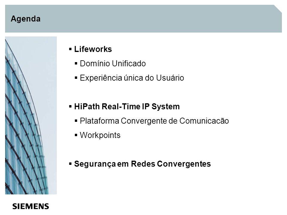 Agenda Lifeworks Domínio Unificado Experiência única do Usuário HiPath Real-Time IP System Plataforma Convergente de Comunicacão Workpoints Segurança