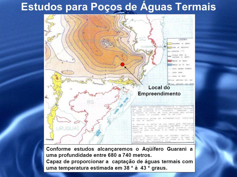 Estudos para Poços de Águas Termais Ilustração esquemática mostrando o arranjo das principais unidades hidrogeológicas presente sob o local do empreendimento, com destaque para o posicionamento do Aqüífero Guarani,