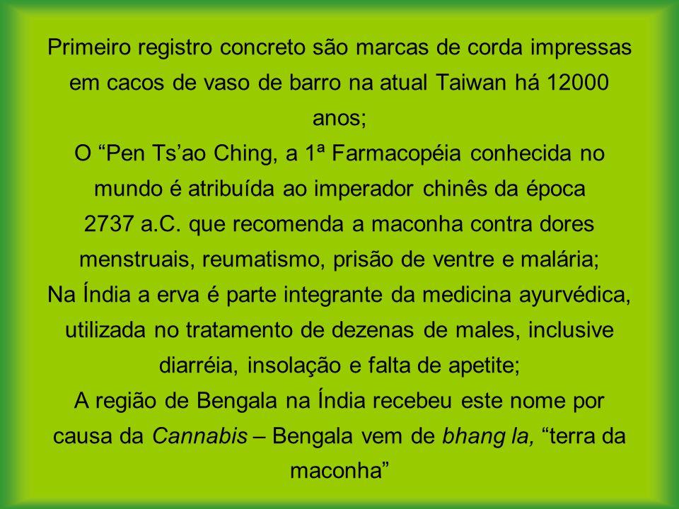 Primeiro registro concreto são marcas de corda impressas em cacos de vaso de barro na atual Taiwan há 12000 anos; O Pen Tsao Ching, a 1ª Farmacopéia conhecida no mundo é atribuída ao imperador chinês da época 2737 a.C.