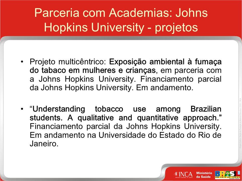 26 Clique para editar o estilo do título mestre Parceria com Academias: Johns Hopkins University - projetos Projeto multicêntrico: Exposição ambiental à fumaça do tabaco em mulheres e crianças, em parceria com a Johns Hopkins University.