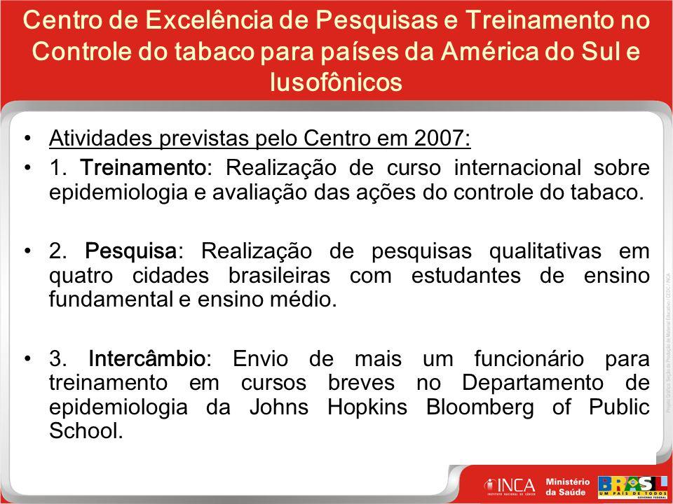 28 Clique para editar o estilo do título mestre Centro de Excelência de Pesquisas e Treinamento no Controle do tabaco para países da América do Sul e lusofônicos Atividades previstas pelo Centro em 2007: 1.