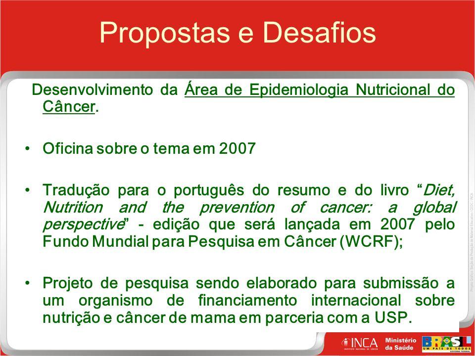 31 Clique para editar o estilo do título mestre Propostas e Desafios Desenvolvimento da Área de Epidemiologia Nutricional do Câncer.