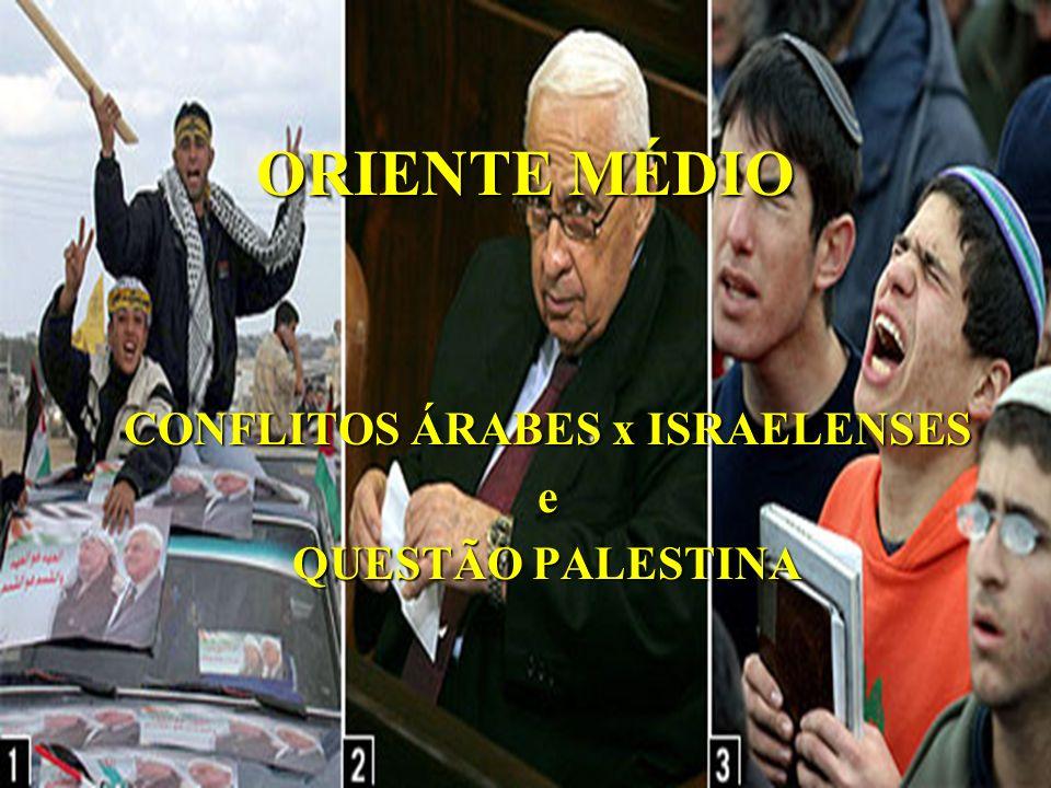 ORIENTE MÉDIO CONFLITOS ÁRABES x ISRAELENSES e QUESTÃO PALESTINA