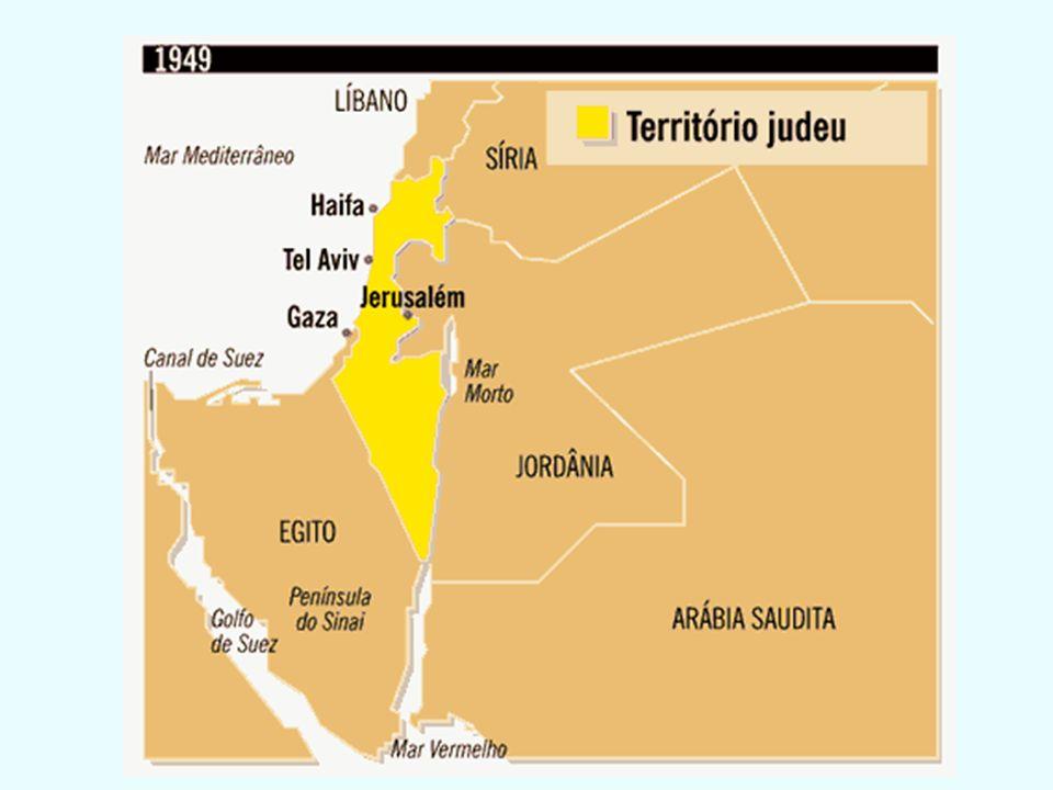 RESULTADO DO 1º CONFLITO Israel vence e ocupa parte do território dos Palestinos Egito ocupa a Faixa de Gaza Jordânia ocupa a Cisjordânia Jerusalém é