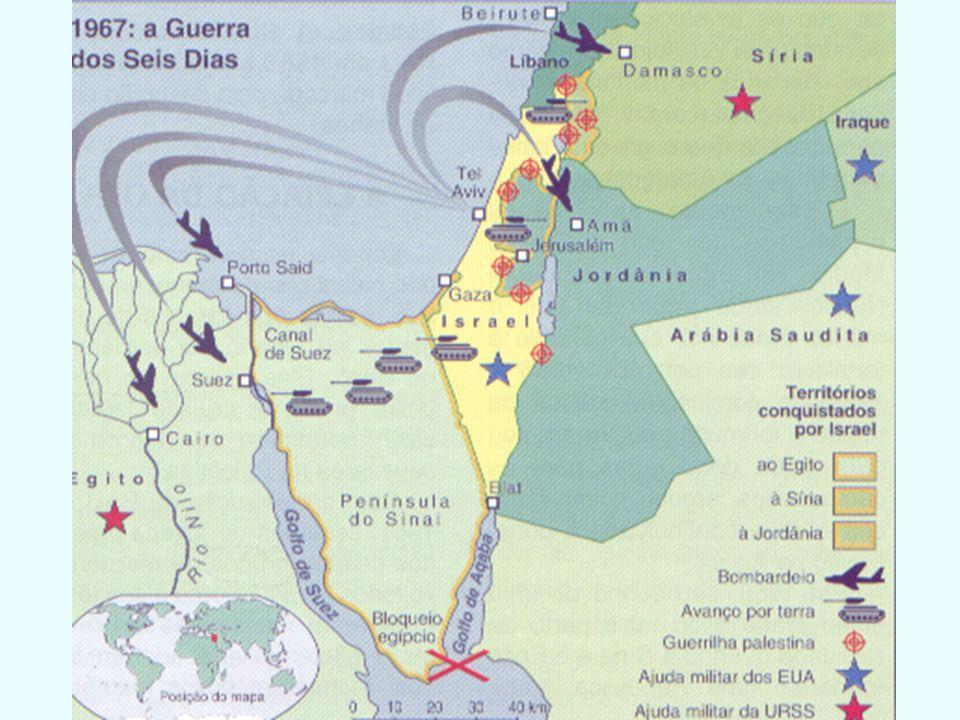 2º CONFLITO GUERRA DOS SEIS DIAS Egito, Jordânia e Síria preparam um novo ataque a Israel Israel antecipa o ataque dos árabes e ataca primeiro