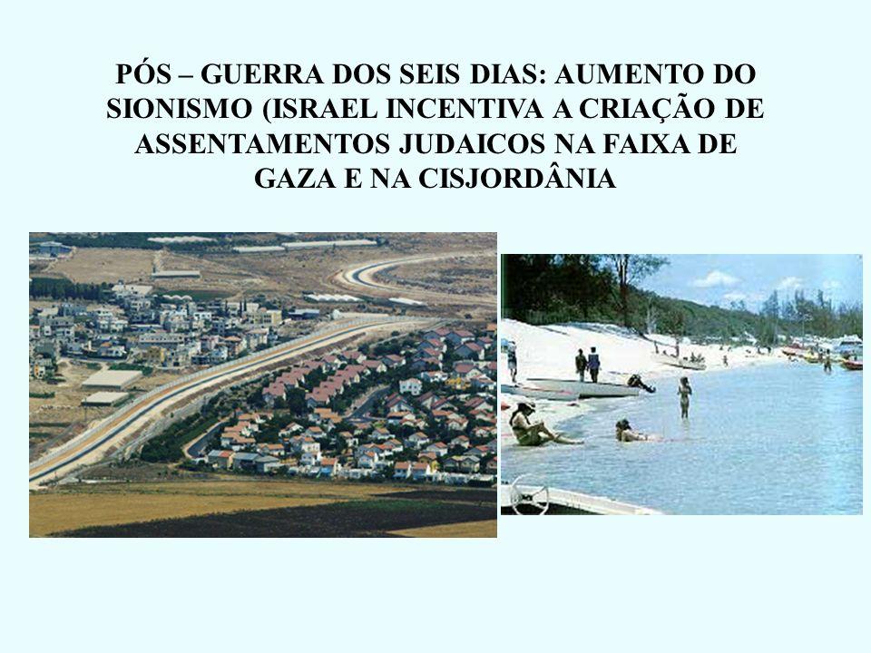 IMPORTÂNCIA DE CADA ÁREA CONQUISTADA NA GUERRA DOS SEIS DIAS Faixa de Gaza e Cisjordânia Controle total sob a Palestina (sionismo) Península do Sinai