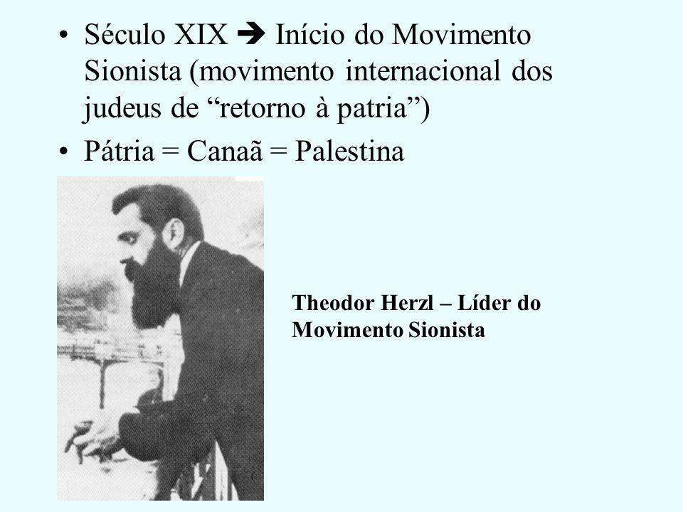 Século XIX Início do Movimento Sionista (movimento internacional dos judeus de retorno à patria) Pátria = Canaã = Palestina Theodor Herzl – Líder do Movimento Sionista