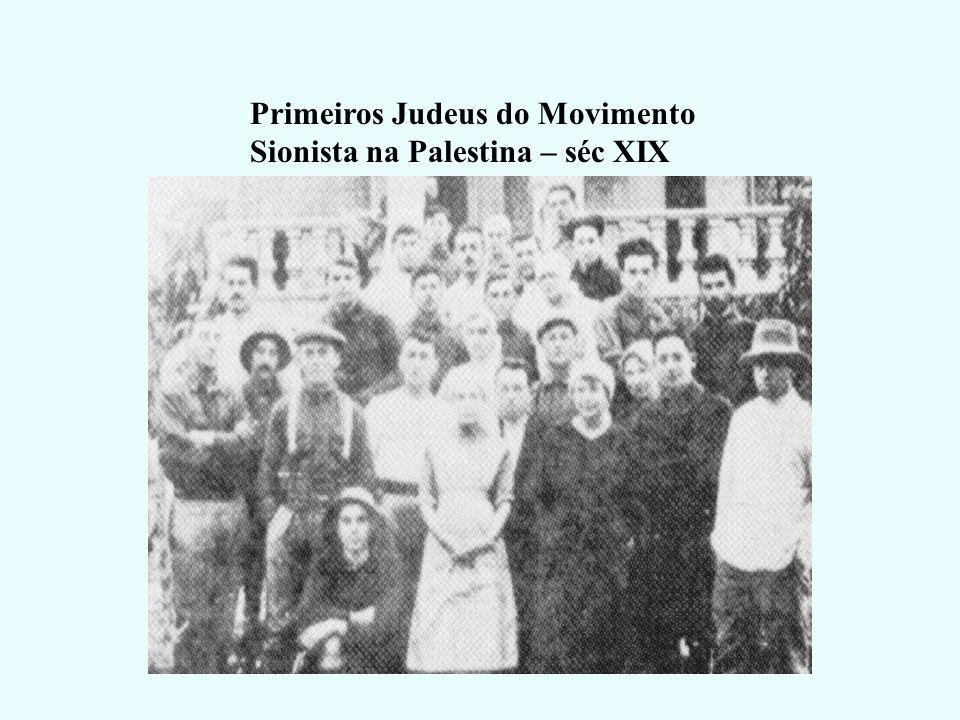 Século XIX Início do Movimento Sionista (movimento internacional dos judeus de retorno à patria) Pátria = Canaã = Palestina Theodor Herzl – Líder do M