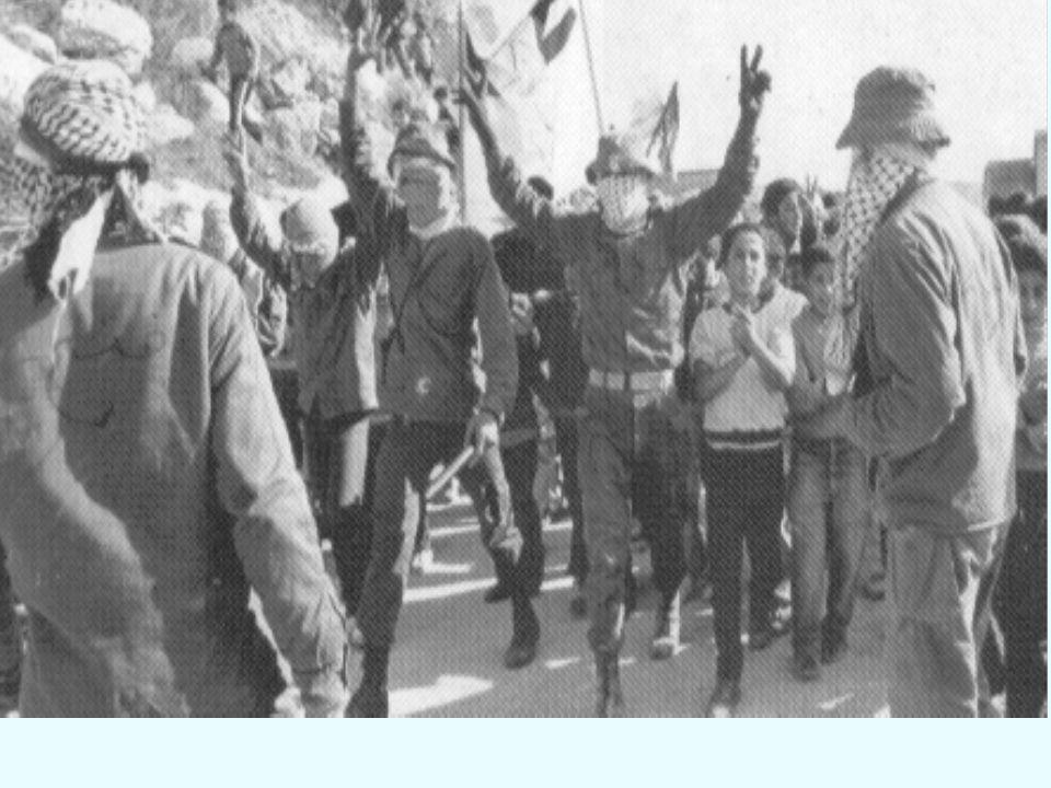 1987 – INÍCIO DA INTIFADA Intifada Guerra das Pedras Revolta popular palestina contra a ocupação israelense na Faixa de Gaza e na Cisjordânia (Organiz