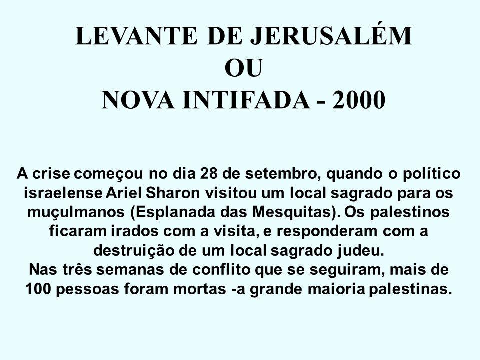VITÓRIA DO PARTIDO TRABALHISTA (ESQUERDA) 1º Ministro => Ehud Barak RETOMADA DAS NEGOCIAÇÕES (Devolução do Sul do Líbano) NOVAS ELEIÇÕES EM 1999