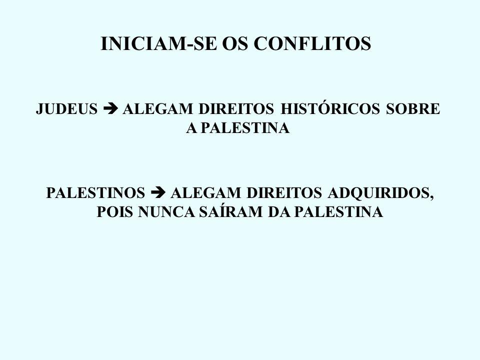 INICIAM-SE OS CONFLITOS JUDEUS ALEGAM DIREITOS HISTÓRICOS SOBRE A PALESTINA PALESTINOS ALEGAM DIREITOS ADQUIRIDOS, POIS NUNCA SAÍRAM DA PALESTINA
