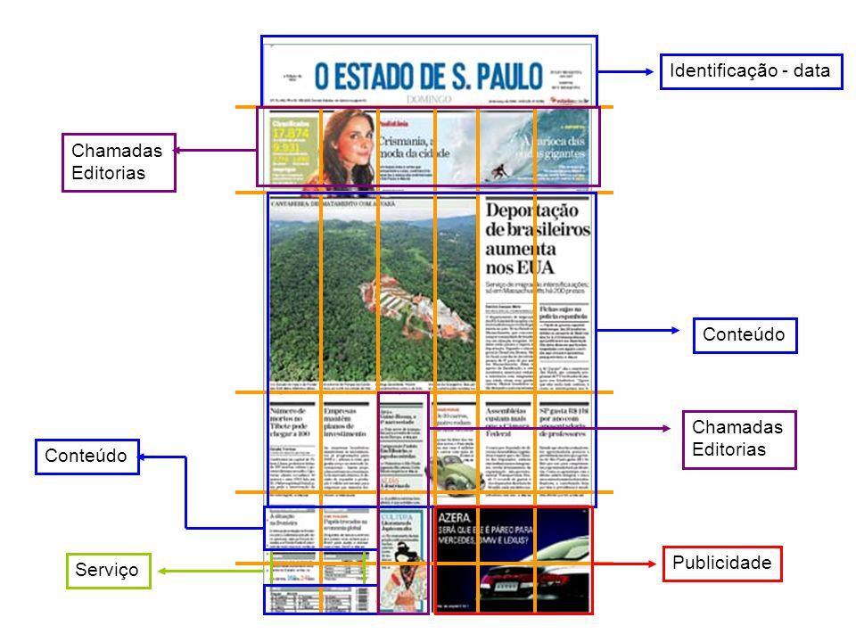 Identificação - data Conteúdo Serviço Publicidade Conteúdo Chamadas Editorias Chamadas Editorias