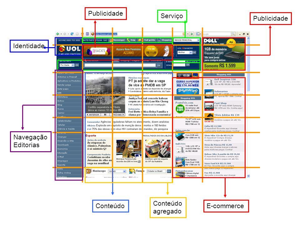 Identidade Serviço Navegação Editorias Conteúdo agregado E-commerce Publicidade