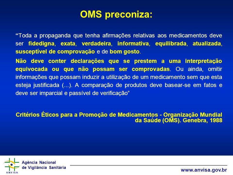 Agência Nacional de Vigilância Sanitária www.anvisa.gov.br Agência Nacional de Vigilância Sanitária www.anvisa.gov.br OMS preconiza: Toda a propaganda